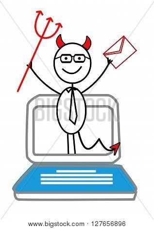 Email, Notebook & red devil .eps10 editable vector illustration design