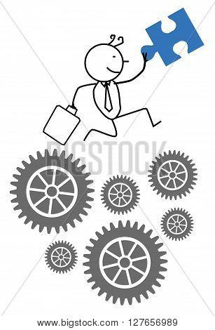 Businessman cooperation progress .eps10 editable vector illustration design