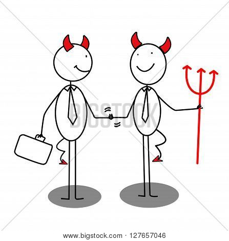Businessman Devil Shaking Hands .eps10 editable vector illustration design