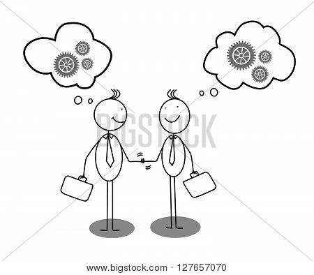 Businessman shaking hands with gear and bubble speech .eps10 editable vector illustration design