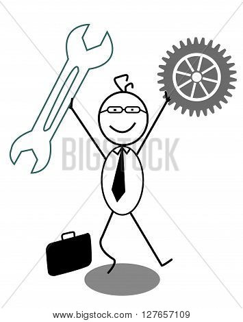 Businessman Happy with gear and Wrench .eps10 editable vector illustration design