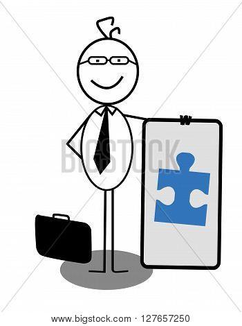 Businessman Cooperation Banner .eps10 editable vector illustration design