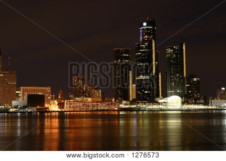 Detroit Lights From Windsor Ontario