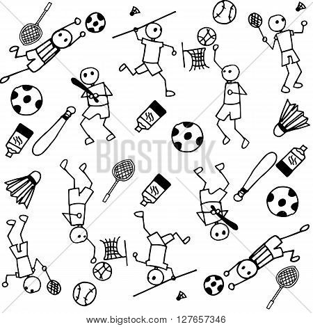 Sports people of doodle white black and white backgrounds
