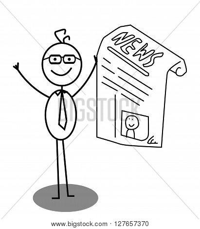 Businessman Happy News .eps10 editable vector illustration design