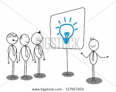 Businessman Presentation about idea .eps10 editable vector illustration design