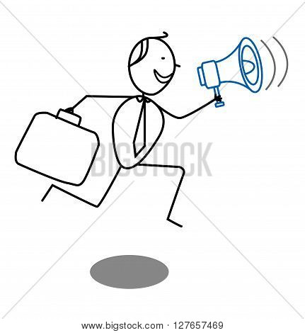 Businessman and megaphone .eps10 editable vector illustration design