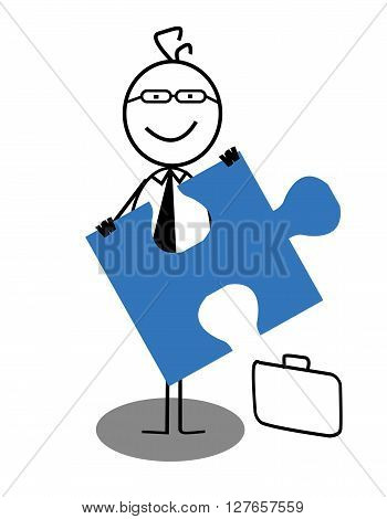 Businessman and Jigsaw .eps10 editable vector illustration design