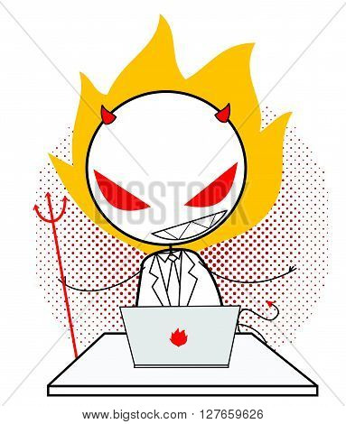 Devil computer .eps10 editable vector illustration design