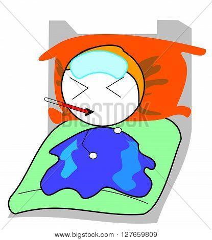 Boy sleep sick .eps10 editable vector illustration design