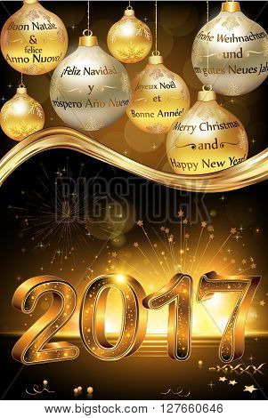 Happy new year 2017 greeting card vector photo bigstock happy new year 2017 greeting card card with message in many languages english m4hsunfo