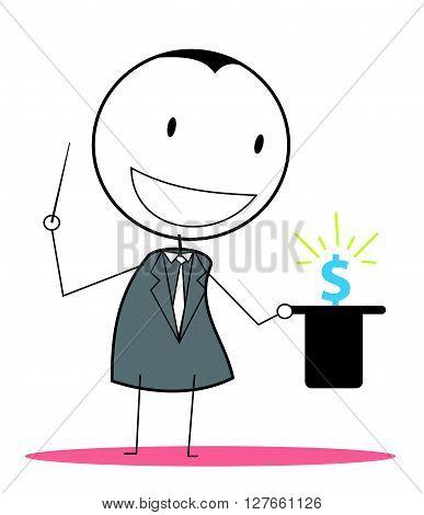 Magician businessman money .eps10 editable vector illustration design