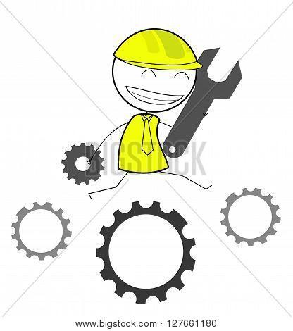 Businessman gear progress .eps10 editable vector illustration design