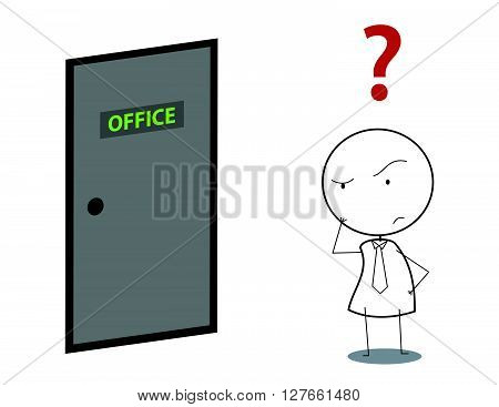 Businessman door question .eps10 editable vector illustration design