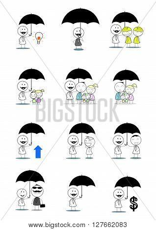 Businessman insurance set .eps10 editable vector illustration design