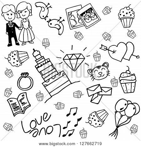 Wedding doodle vector with black and white backgrounds