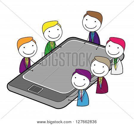 Meeting group online .eps10 editable vector illustration design