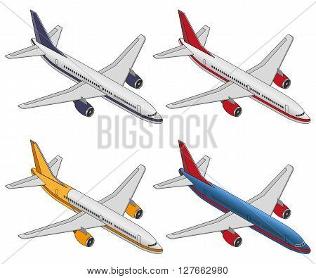 Set isometric color plane on a white background. Flat 3d isometric passenger plane. Large passenger Airplane 3d isometric illustration.