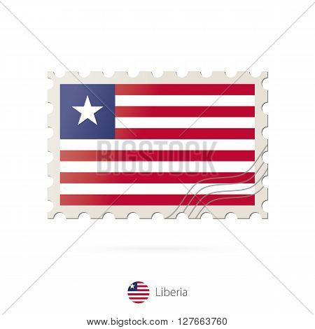 Postage Stamp With The Image Of Liberia Flag.