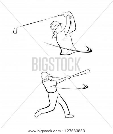 Baseball and Golf Illustration .eps10 editable vector illustration design