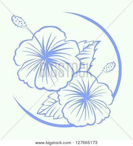 Hibiscus Flower Symbol.eps10 editable vector illustration design