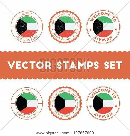 Kuwaiti Flag Rubber Stamps Set. National Flags Grunge Stamps. Country Round Badges Collection.