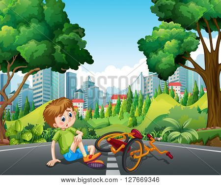 Boy falling off the bike on the street illustration