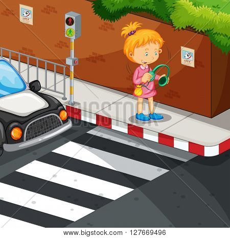 Girl listening to music on the pavement illustration