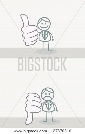 Funny Doodle : Business Man Thumb UP DOWN.eps10 editable vector illustration design