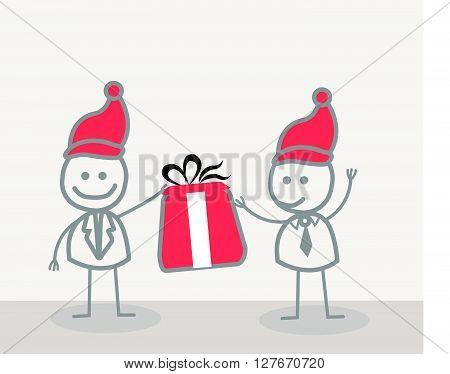 Funny Doodle : Businessman give christmas gift.eps10 editable vector illustration design