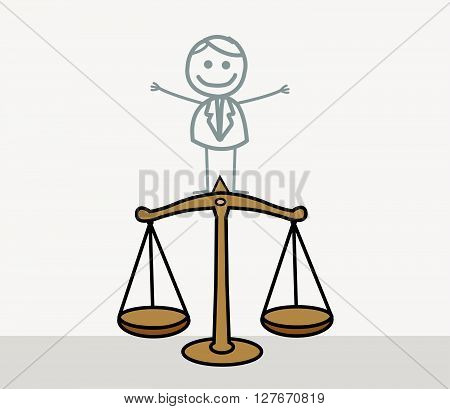 Man Justice Scale .eps10 editable vector illustration design