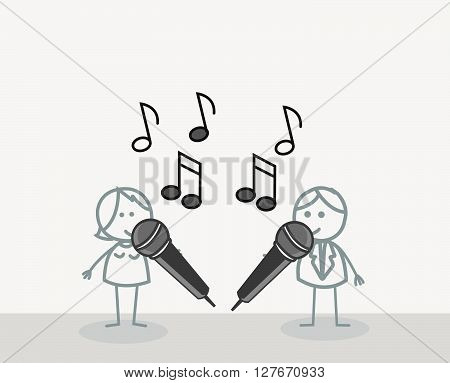 Duet Singer .eps10 editable vector illustration design