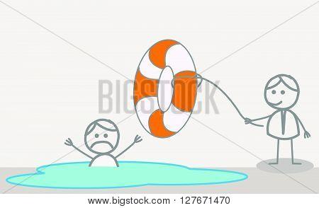 Woman help sink man.eps10 editable vector illustration design