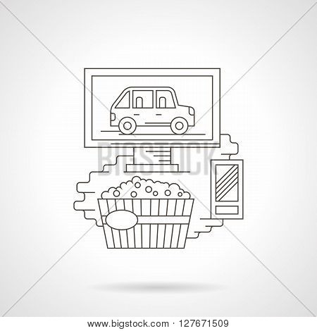 Monitor with car, popcorn and remote control. Movie at home concept. Online cinema, watching TV.  Detailed flat line vector icon. Web design elements for business, site, mobile app.