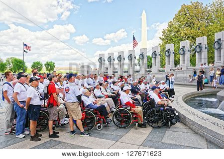 Group Of Veterans In National World War 2 Memorial
