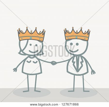 King and Queen.eps10 editable vector illustration design