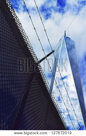 One World Trade Center And Barbed Wire