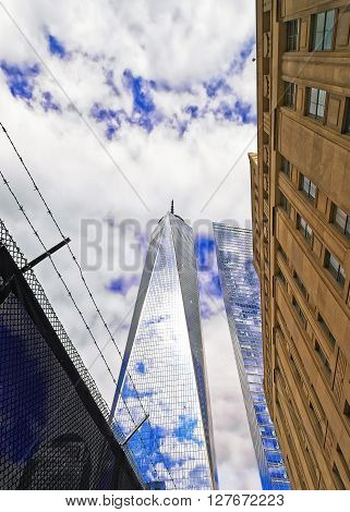 View To One World Trade Center And Barbed Wire
