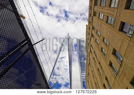 View On One World Trade Center And Barbed Wire