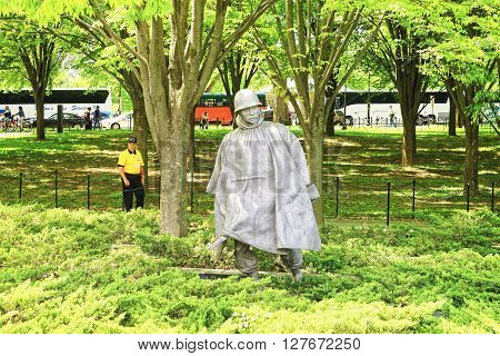 Washington DC USA - May 2 2015: War Veteran member of Honor Flight nonprofit organization in Korean War Veterans Memorial in West Potomac Park in the National Mall.