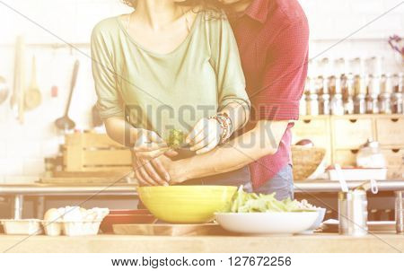 Couple Cooking Hobby Liefestyle Concept
