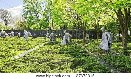 War Veterans In Korean War Veterans Memorial Washington Dc