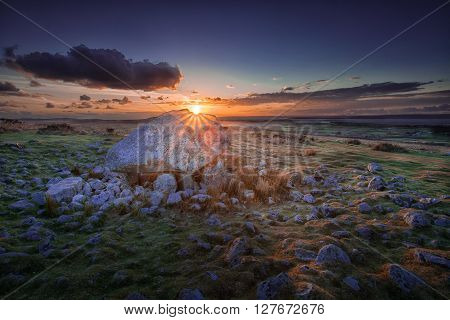 Sunset at Arthur's stone A landmark on the top of Cefn Bryn, North Gower, South Wales, Swansea.