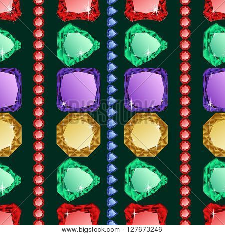 Diamonds seamless pattern. Vector illustration jewerly. Abstract diamond vector background. Jem seamless pattern. Seamless background, brilliant jewels. Wealth illustration vector poster