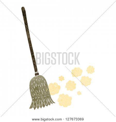 freehand drawn retro cartoon sweeping brush