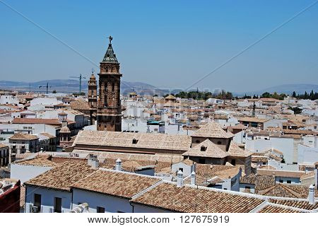 ANTEQUERA, SPAIN - JULY 1, 2008 - Elevated view of town from castle with the San Sebastian church tower in the foreground Antequera Malaga Province Andalucia Spain Western Europe, July 1, 2008.
