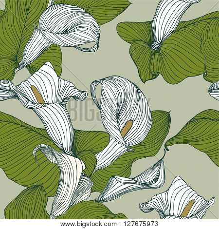 Seamless vector pattern - calla flowers. Nature background