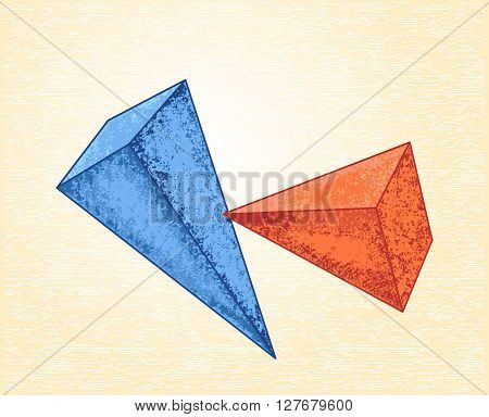 Pyramids on a canvas background. Abstract vector design in cubism style can use for posters cards stickers illustrations as decorative element.