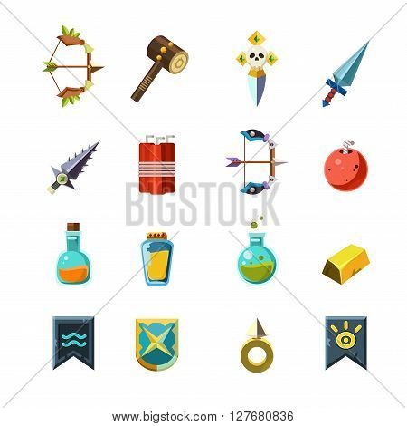 Flash Game Inventory Set Of Simple Flat Isolated Icons On White Background In Graphic Vector Design