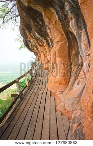Wat Phu Tok Thailand scary walkway around the mountain poster